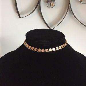 Rose Gold-tone Disc Chain Choker Necklace